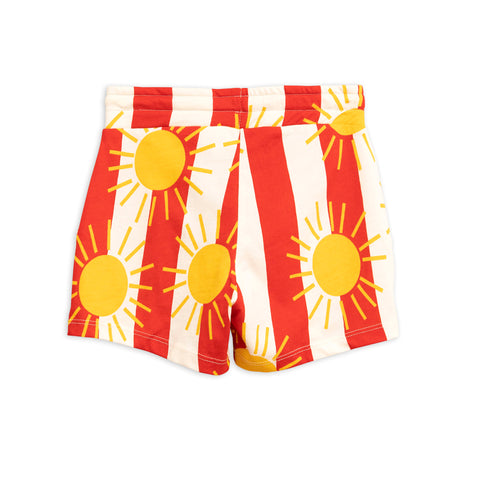 Mini Rodini Red Sun Stripe Printed Sweat Shorts