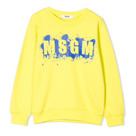 MSGM Yellow Paint Splash Logo Sweat
