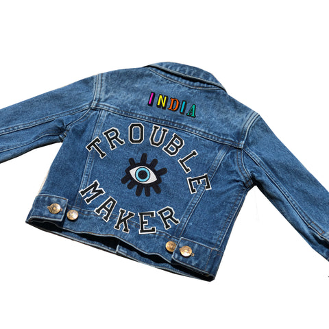 Patchy Tiger Personalised 'Trouble Maker' Denim Jacket