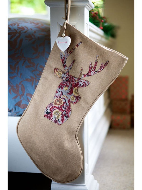 Warm Winter Brown Red Paisley Stag Stocking