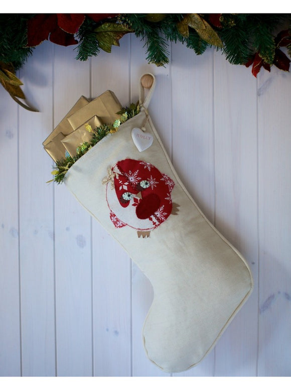 Personalised Winter White Stocking With Robin