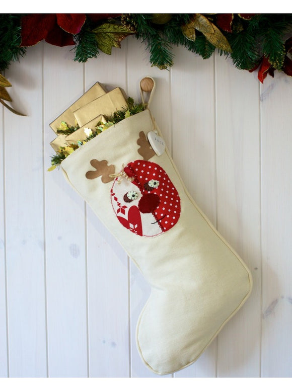 Personalised Winter White Rudolph Stocking