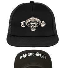 Load image into Gallery viewer, Chicano Style Classic Black Flat Bill Snapback Cap