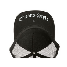 Load image into Gallery viewer, Chicano Style Classic Black Flat Bill Snapback Cap bottom