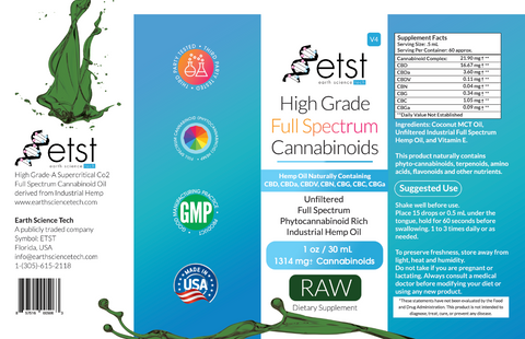 Full Spectrum Cannabinoids Raw 1oz 1,314mg - Earthsciencetech