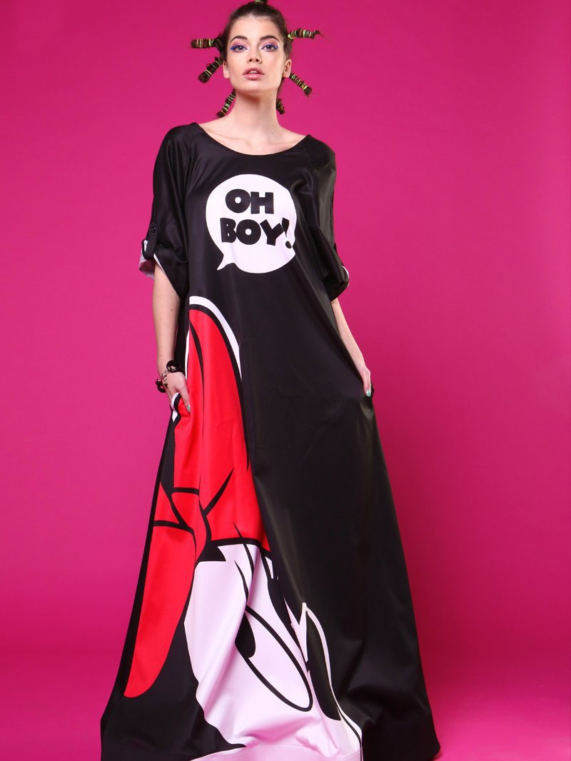 Mickey Printing Backless Large Size Long Dress