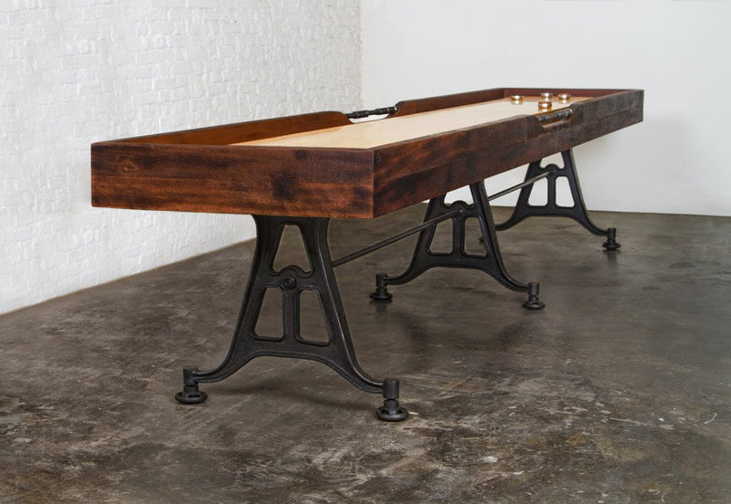 Restoration Style Iron and Wood Shuffleboard Table 12'