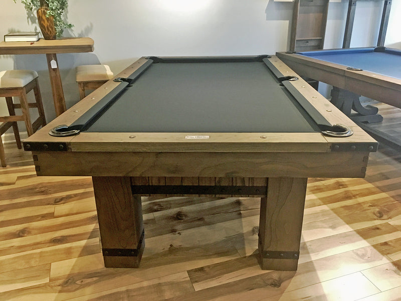 plank and hide morse pool table barnwood showroom end