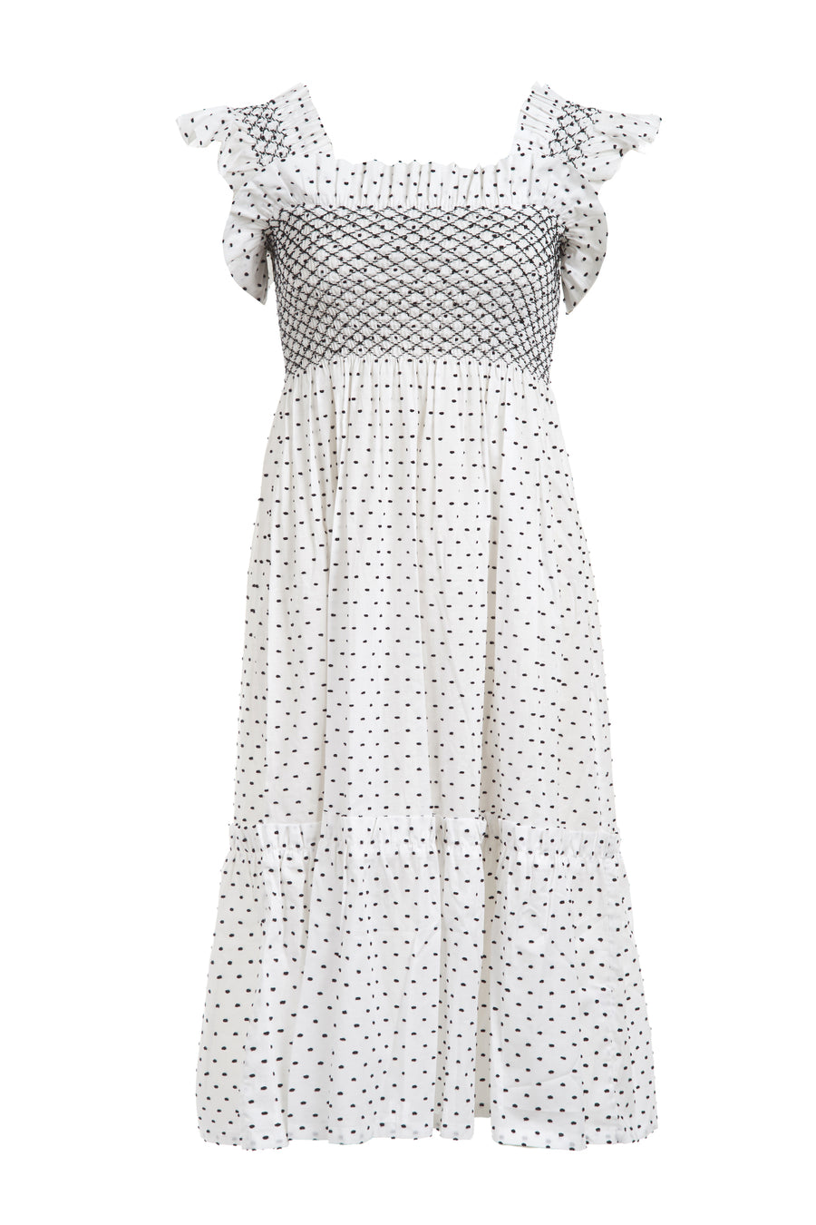 QUEENIE DRESS WHITE NAVY SPOT