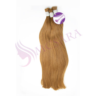 Bulk straight hair light brown cold color A+