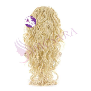 Wig curly  hair blonde color