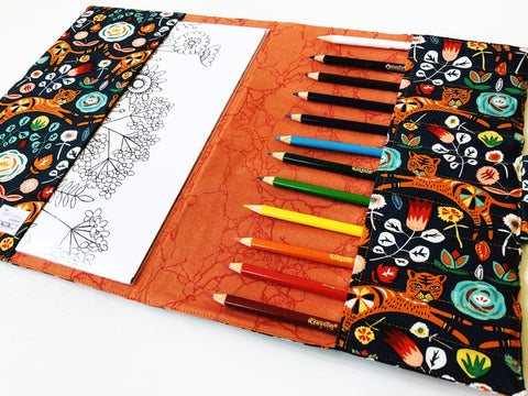 Tiger coloring book case