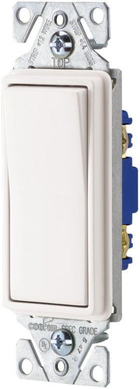 Decorator single pole switches, White, 10-pack