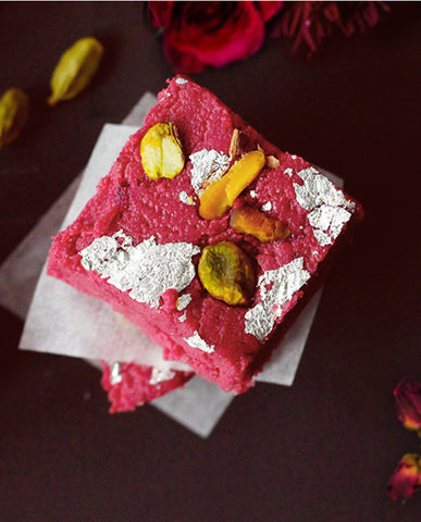 Kalakand (Rose) | Milk Fudge