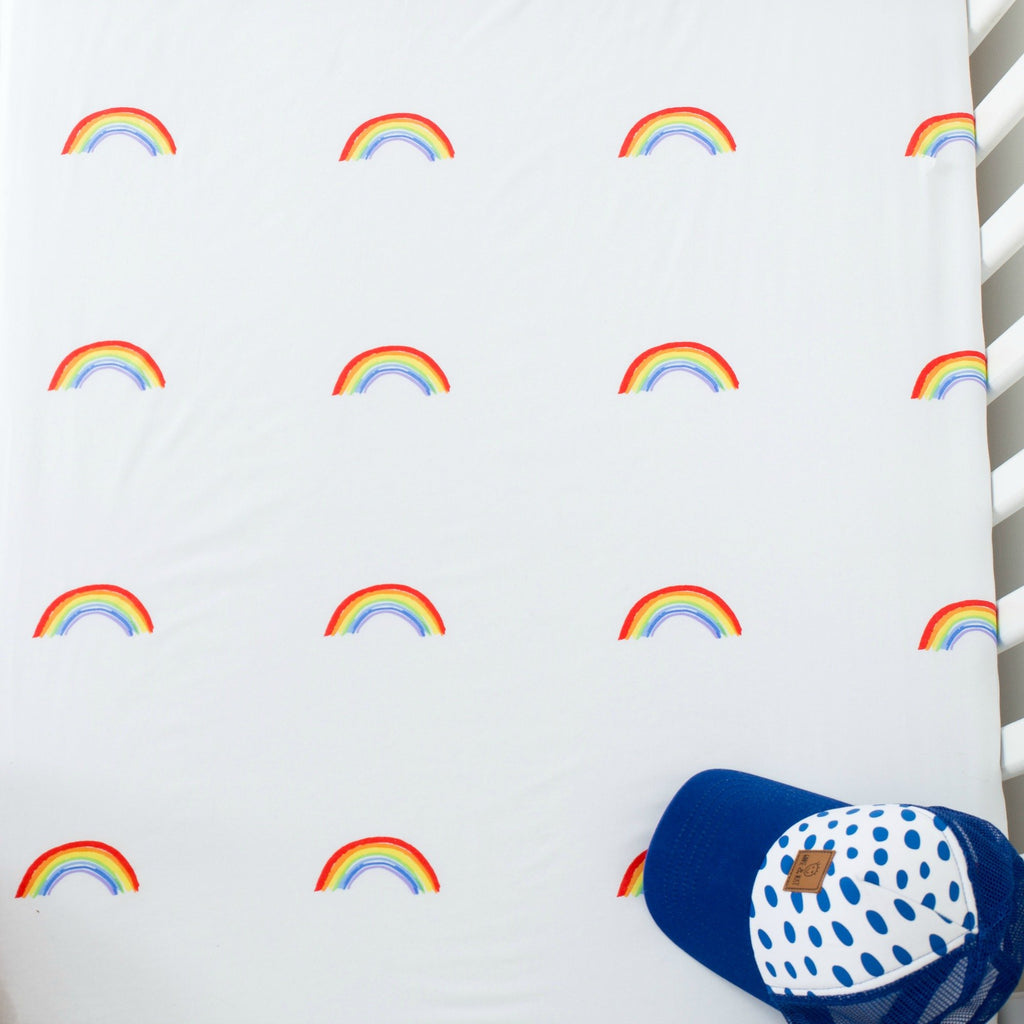 White Fox & Co Cot Sheet | Bright Rainbow  | Available online at White Fox & Co