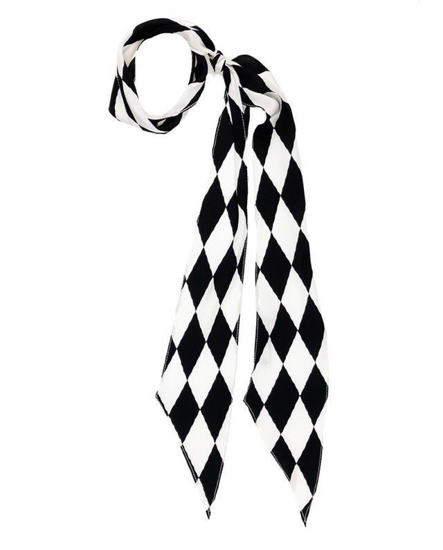 Harlequin Super Skinny Silk Scarf (Black & White)
