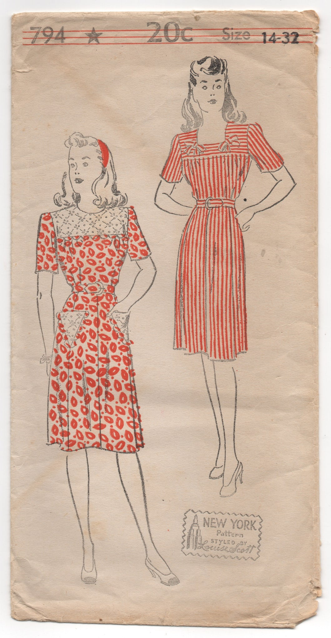 1940's New York One Piece Dress with Square Neckline or high collar - Bust 32