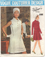"1960's Vogue Couturier Design Two Piece Dress with two sleevelengths and pleated skirt - Bust 34"" -No. 2188"