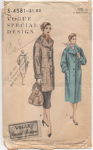 "1950's Vogue Special Design Coat with Wide Collar and DEEP pockets - Bust 34"" - No. S-4581"