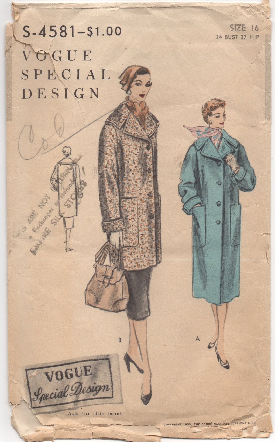 1950's Vogue Special Design Coat with Wide Collar and DEEP pockets - Bust 34