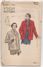 "1940's Vogue Jacket with 4 Pockets - Bust 32"" - No. 6481"