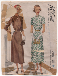 "1940's McCall Day Dress with 8 gore skirt and Straight or Scallop Neckline - Bust 36"" - No. 7583"