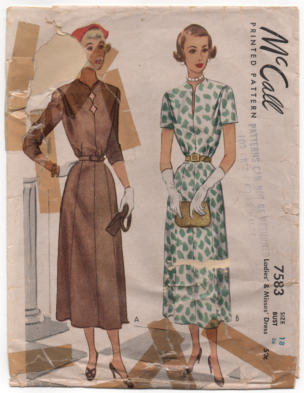 1940's McCall Day Dress with 8 gore skirt and Straight or Scallop Neckline - Bust 36