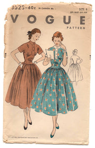"1950's Vogue One-Piece Dress with full skirt and short kimono sleeves - Bust 29.5"" - No. 3528"
