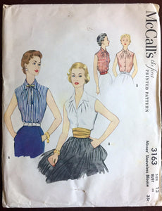 "1950's McCall's Button-up Shirt with Two Collar Styles Pattern - Bust 30"" - No. 3163"