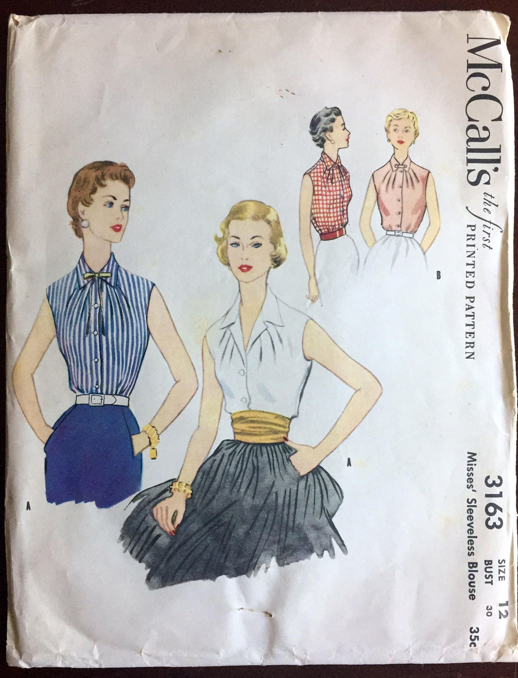 1950's McCall's Button-up Shirt with Two Collar Styles Pattern - Bust 30