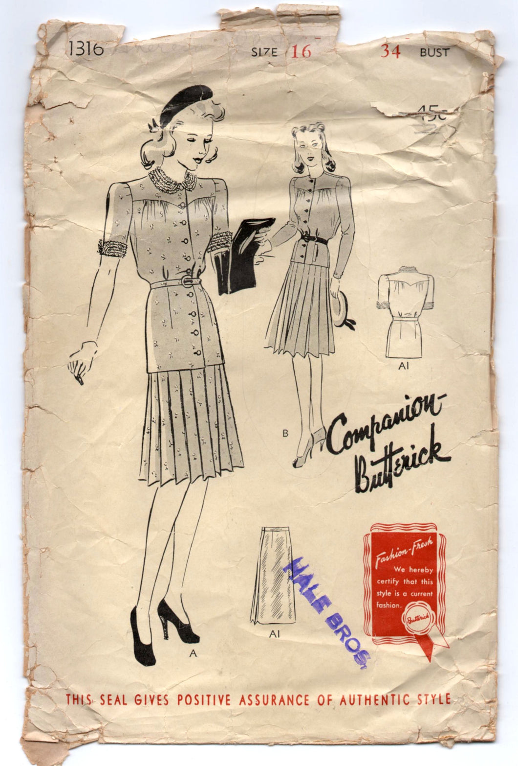 1940's Butterick Two Piece Dress with tie waist pattern - Bust 34
