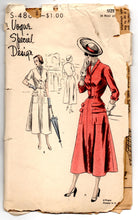 "1950's Vogue Special Design Day Dress with Double Pockets and Button Up Top Pattern - Bust 34"" - No. 4865"