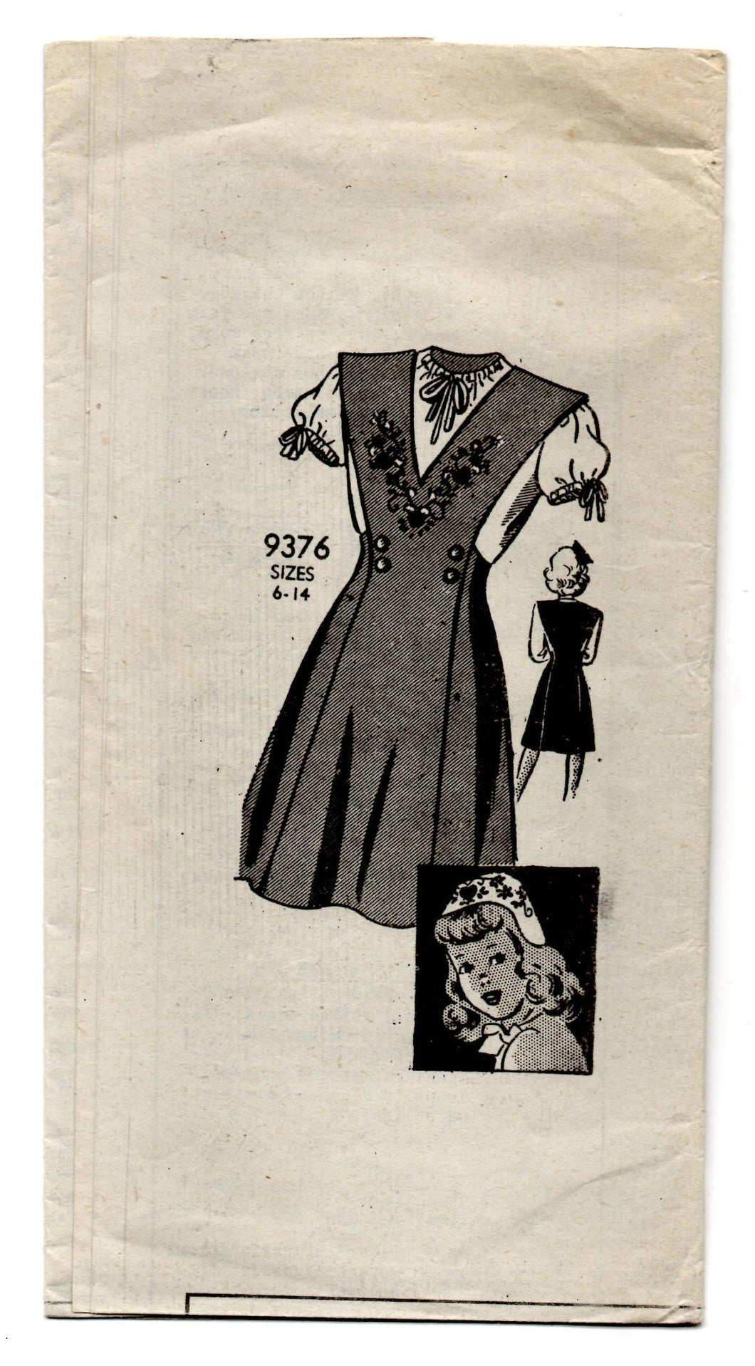 1940's Mail Order Junior's One-Piece Dress, Peasant Blouse, Hat and Transfer Pattern - 14 years - UC/FF - No. 9376