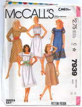 "1980's McCall's Summer Dress Square Neckline and Puff Sleeves Pattern - Bust 36"" - no. 7939"