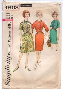 "1960's Simplicity One-Piece Day Dress with Pencil or A Line Skirt Pattern - Bust 34"" - No. 4608"