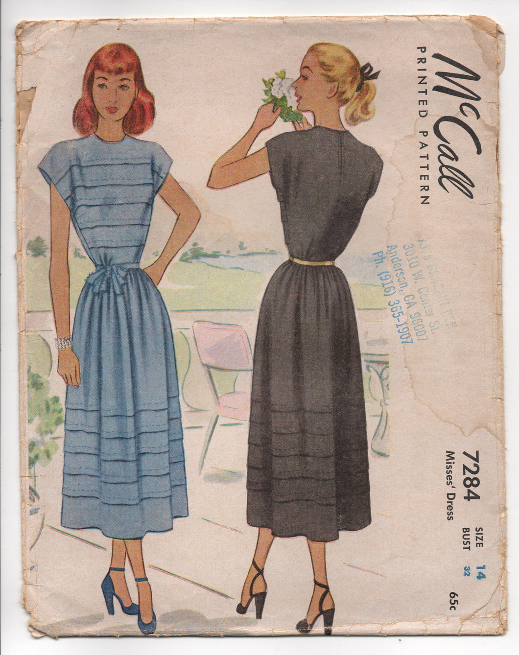 1940's McCall One Piece Dress with Tucked Bodice and Skirt - Bust 32