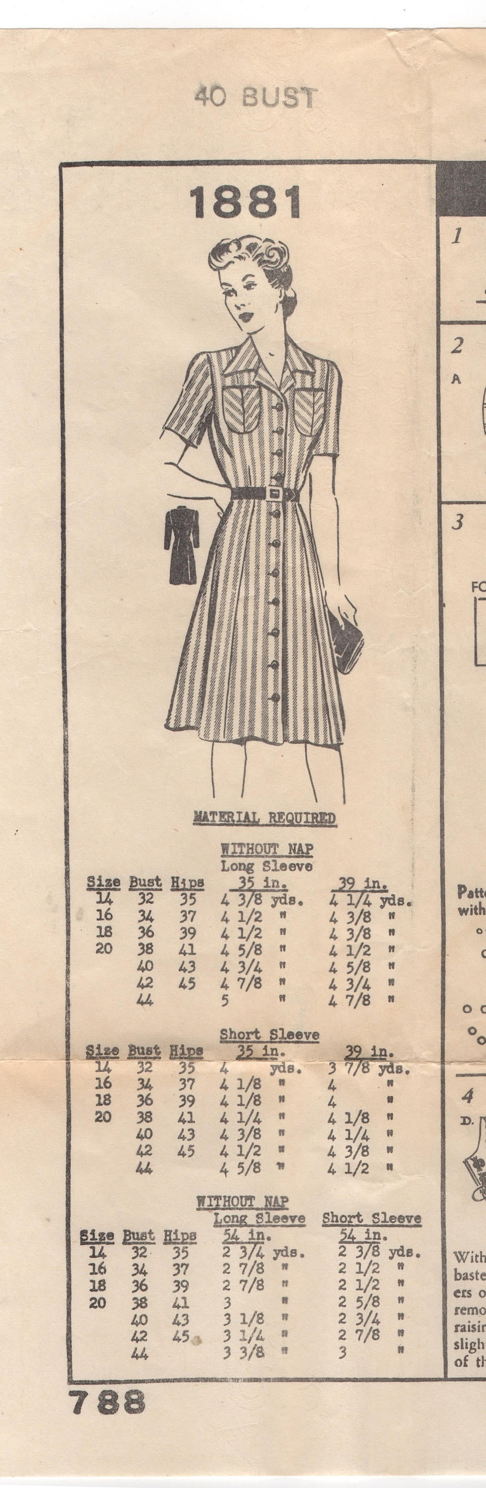1940's Mail Order Shirt Waist Dress with Double Pockets - Bust 40