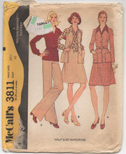 "1970's McCall's Wardrobe Pattern: Blouse, Wide leg Pants, Skirt, Belt - Bust 43"" - No. 3811"