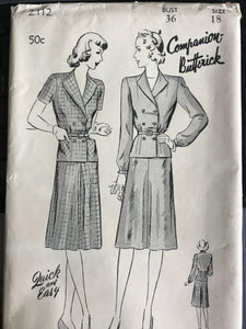 "1940's Butterick Two Piece Tailored Suit Dress - Bust 36"" - UC/FF - No. 2112"