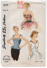 "1950's Simplicity Camisole Top (Spaghetti straps, Triangular accents or petal) in 3 styles - Bust 32"" - No. 3579"