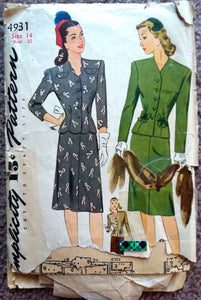 1940's Simplicity Wartime Two Piece Suit Pattern - Bust 32 - no. 4931