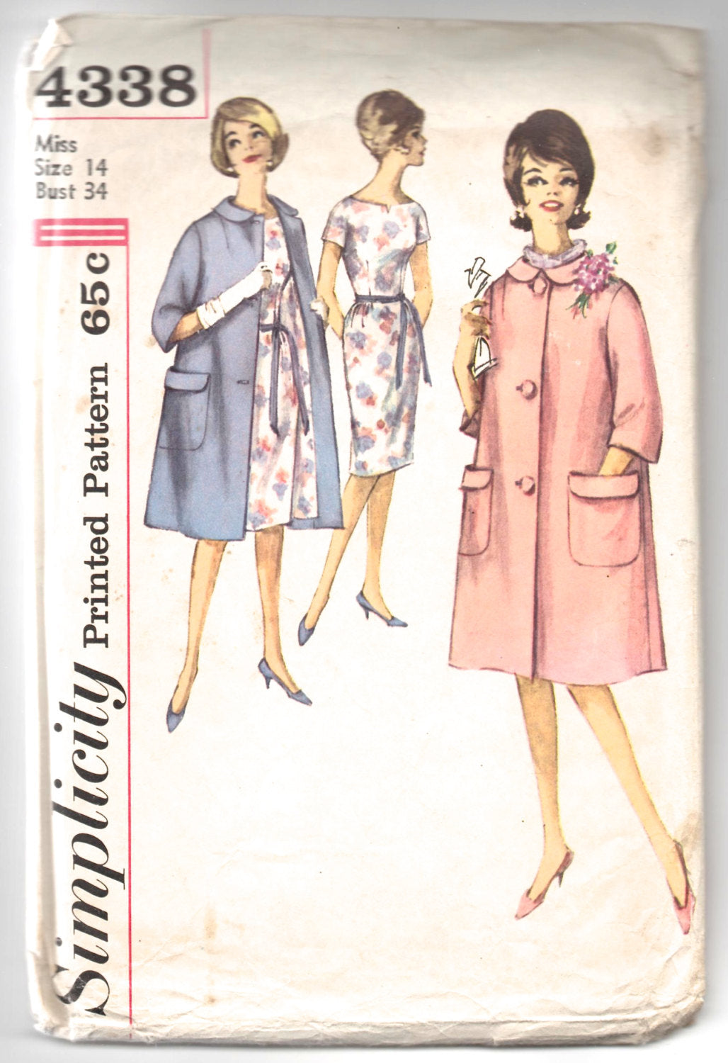 1960's Simplicity One Piece Dress and Coat Pattern - Bust 34