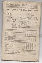 "1940's Advance One-Piece Dress with Puff or Long sleeves Pattern- Bust 30"" - No. 5073"