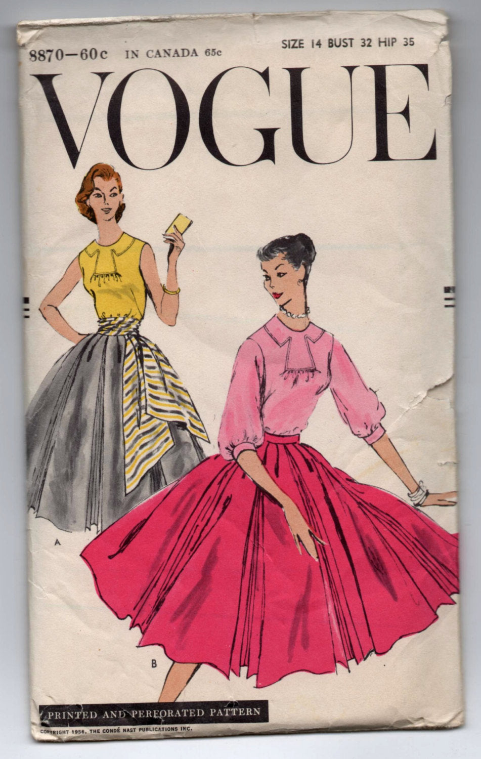 1950's Vogue Double Inverted Pleat Skirt, Blouse and Cummerbund Pattern - Bust 32