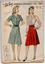 "1940's DuBarry One-Piece Dress in Two Sleeve Lengths Pattern - Bust 32"" - No. 5331"