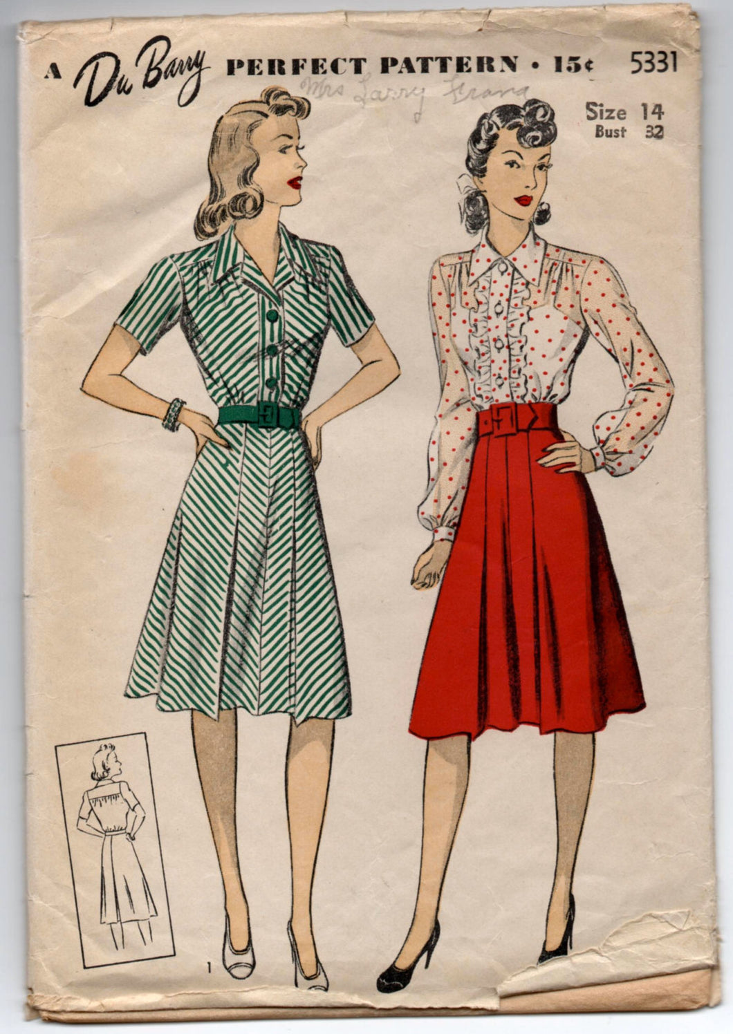 1940's DuBarry One-Piece Dress in Two Sleeve Lengths Pattern - Bust 32