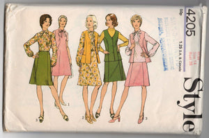 "1970's Style Skirt, Vest and Blouse Pattern - Bust 36"" - No. 4205"