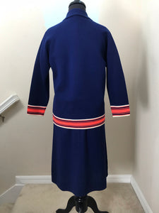 "Bust 36"" - 1960's Harilela's Navy Wool Shift Dress and Matching Jacket"