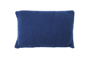 Garter Stitch Dark Blue Knitted Cushion