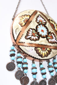 "Turkish Copper Wall Hanging (Blue)- Diameter 10.5cm (4"") Measurement does not include chain or beads"